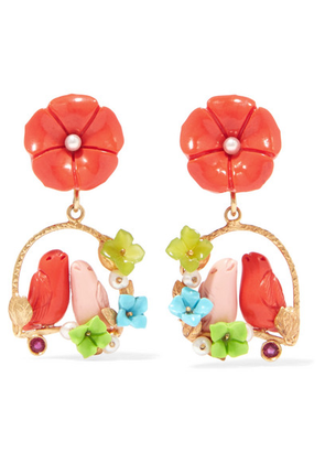 Of Rare Origin - Inseparable Gold Vermeil Multi-stone Earrings - Coral