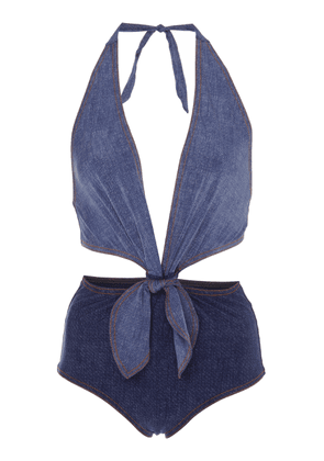 Karla Colletto Louise Cutout Denim Swimsuit