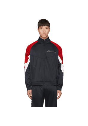 Champion Reverse Weave Navy Archive Logo Tape Hooded Track Jacket