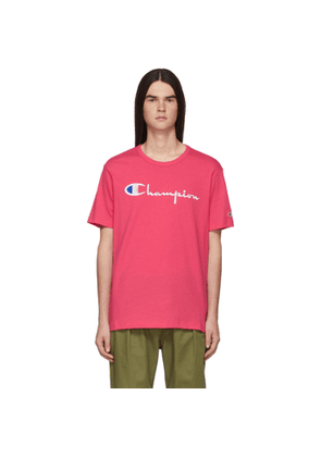 Champion Reverse Weave Pink Embroidered Script Logo T-Shirt