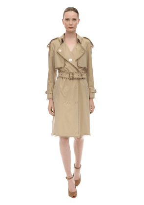 Cotton Canvas Trench Coat W/ Metal Rings