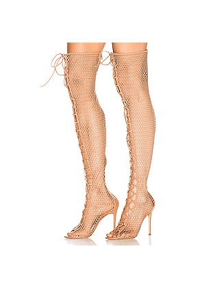 Gianvito Rossi Helena Knee Lace Up Boot in Neutral