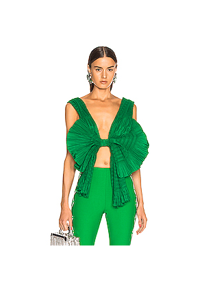 AREA Pleated Bow Top in Green