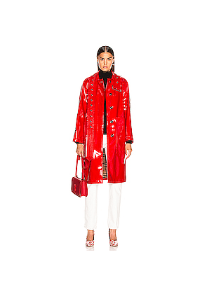 Burberry Patent Leather Coat in Red