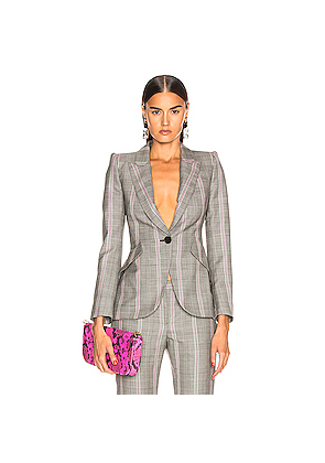 Alexander McQueen Prince of Wales Jacket in Gray,Plaid,Pink
