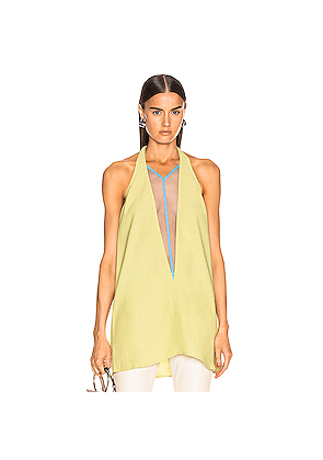Rick Owens Double V Halter Top in Yellow