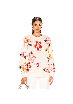 ALANUI Floral Sweater in Floral,White