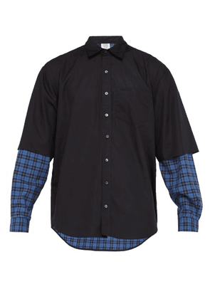 Vetements - Layered Ghost Print Cotton Shirt - Mens - Black Blue