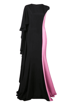 Christian Siriano ruffled capelet gown - Black