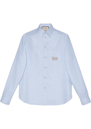 Gucci Oxford cotton shirt with GG - Blue