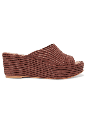 Carrie Forbes - Karim Woven Raffia Wedge Sandals - Taupe