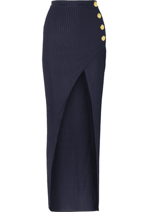 Balmain - Wrap-effect Button-embellished Ribbed Jersey Skirt - Navy