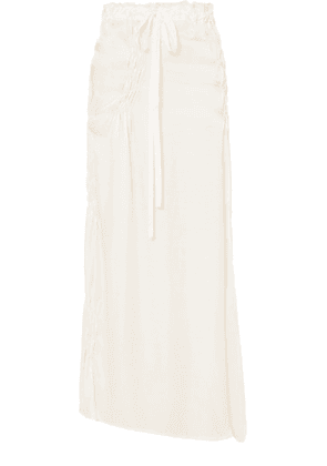 Ann Demeulemeester - Asymmetric Shirred Satin Maxi Skirt - White