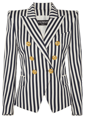 Balmain - Double-breasted Striped Cotton-twill Blazer - Navy