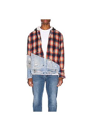 Greg Lauren Denim Hooded Studio Shirt in Blue,Denim Light,Orange,Plaid