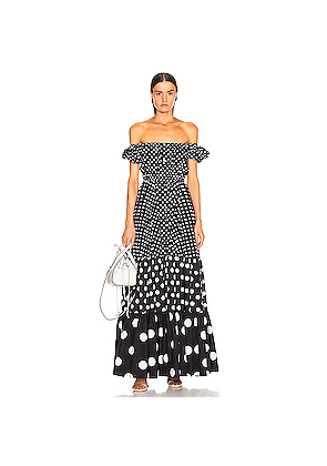 Caroline Constas Bardot Maxi Dress in Black,Polka Dots
