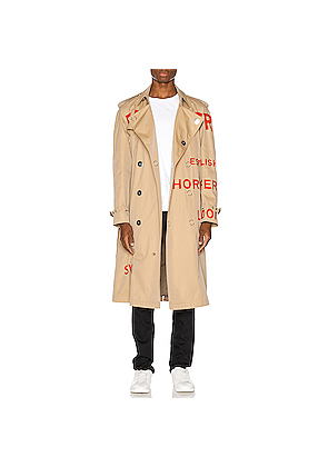 Burberry Logo Trench Coat in Neutral