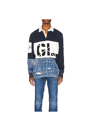 Greg Lauren GL Rugby in Blue,Denim Medium,White