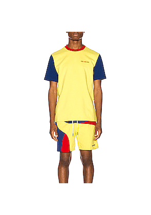 Aime Leon Dore Color Blocked Logo Tee in Blue,Yellow