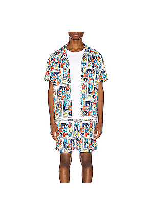 Aime Leon Dore Crayon Print Leisure Shirt in Blue,Novelty,White