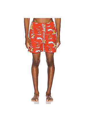 Aime Leon Dore Block Party Swim Trunks in Novelty,Red