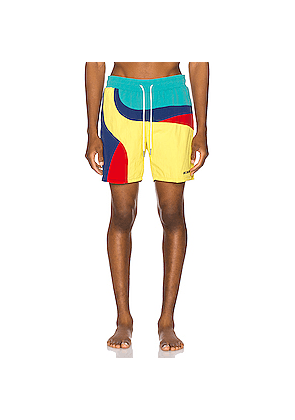 Aime Leon Dore Color Blocked Swim Trunks in Abstract,Blue,Red,Yellow