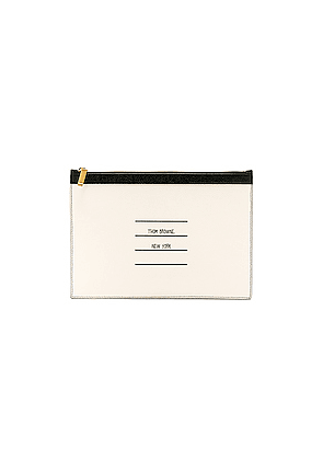 Thom Browne Small Zipper Tablet Pouch in White
