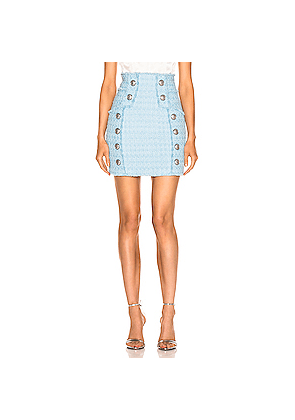 BALMAIN High Waisted Skirt in Blue