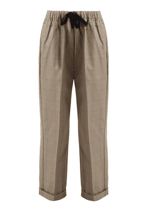 Chimala - Checked Cotton Drawstring Waist Trousers - Womens - Brown