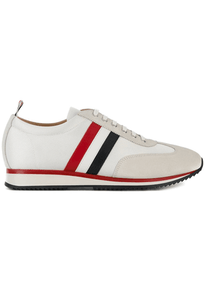 Thom Browne Running Shoe With Red, White And Blue Stripe In Suede &