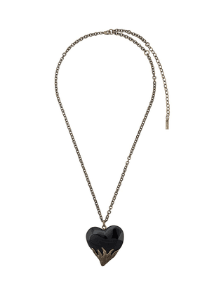 62337651 Saint Laurent Silver Skeleton Charm Pendant Necklace | MILANSTYLE.COM