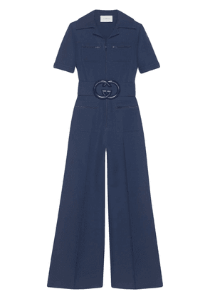 Gucci Wool silk belted jumpsuit - Blue