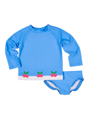 Cherry Applique Rash Guard w/ Ruffle-Trim Bottoms, Size 2-6X