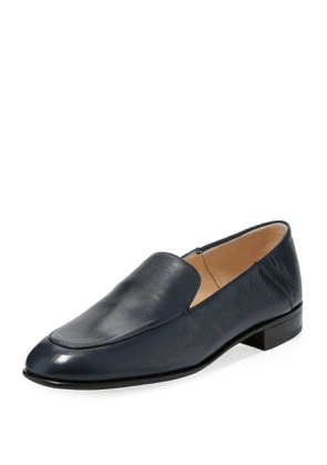 Flat Leather Smoking Loafer