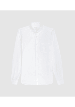 Reiss Ainslee Reg - Regular Fit Brushed Oxford Shirt in White, Mens, Size XS