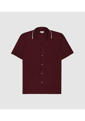 Reiss Alfred - Tipped Cuban Collar Shirt in Bordeaux, Mens, Size XS
