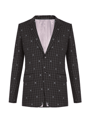 Gucci - Bee Embroidered Single Breasted Wool Suit - Mens - Grey Multi