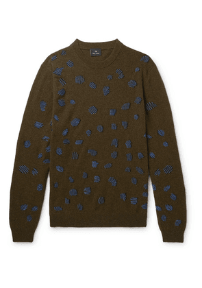 PS Paul Smith - Embroidered Wool-blend Sweater - Green