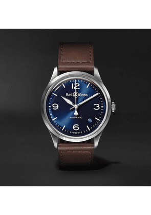 Bell & Ross - Br V1-92 Automatic 38.5mm Steel And Leather Watch - Blue