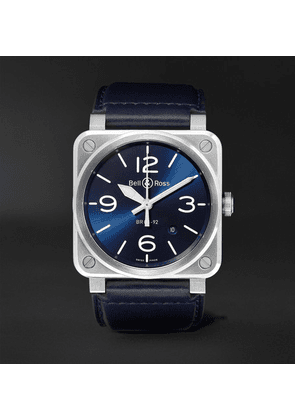 Bell & Ross - Br 03-92 Automatic 42mm Steel And Leather Watch - Blue