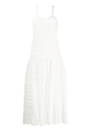 Chanel Vintage embroidered bow midi dress - White