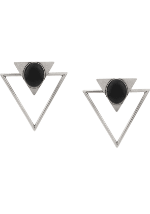 Saint Laurent oversized triangle earrings - Metallic