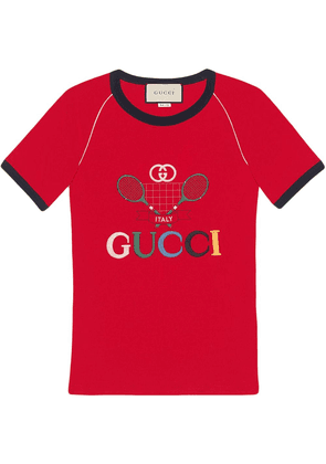 Gucci Ribbed T-shirt with Gucci Tennis - Red