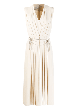 Gucci pleated v-neck dress - Neutrals