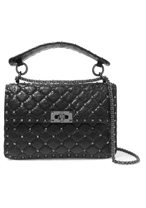 Valentino - Valentino Garavani The Rockstud Spike Small Quilted Cracked-leather Shoulder Bag - Black