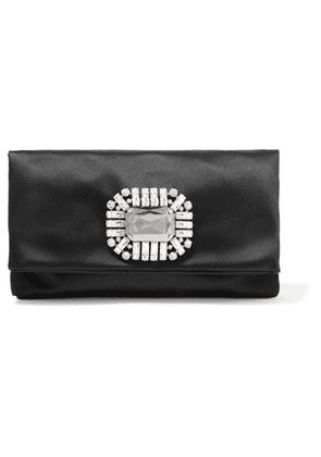Jimmy Choo - Tatiania Crystal-embellished Satin Clutch - Black