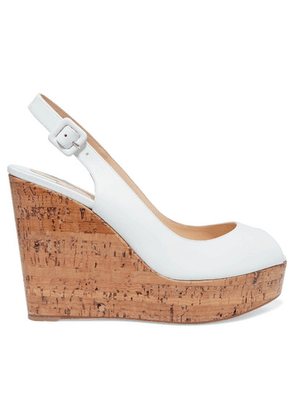 Christian Louboutin - Plume Sling 100 Leather Slingback Wedge Sandals - White