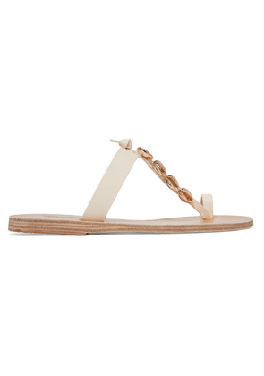 Ancient Greek Sandals - Iris Embellished Leather Sandals - Off-white