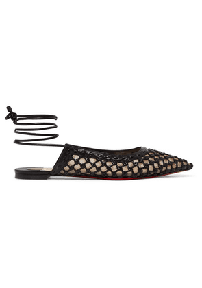 Christian Louboutin - Cage And Curry Woven Leather And Mesh Point-toe Flats - Black
