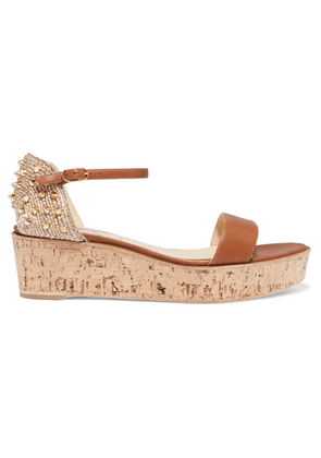 Christian Louboutin - Bellamonica 60 Spiked Leather Espadrille Wedge Sandals - Tan